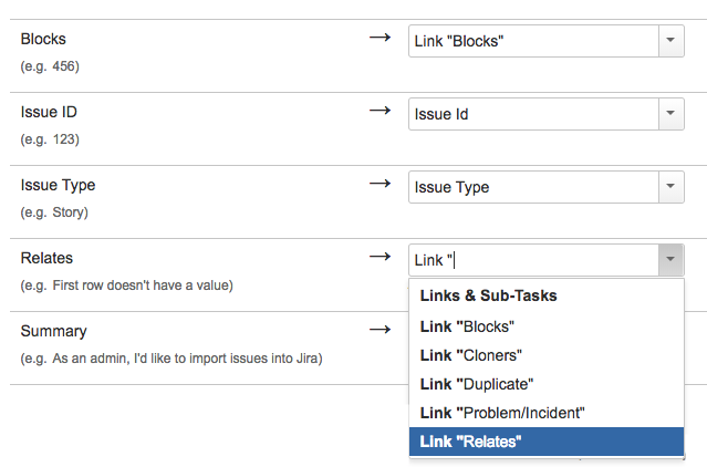 Importing standard link types in Jira