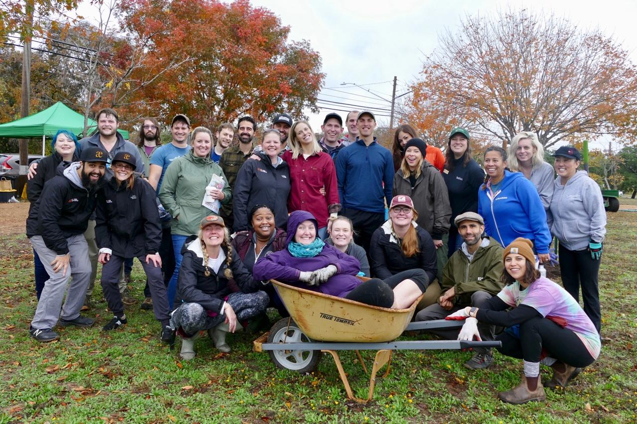 Praecipio plants trees, planting trees, volunteer planting trees, tree planting