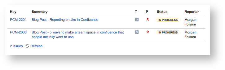 Reporting on Jira in Confluence with the Jira Issues Macro