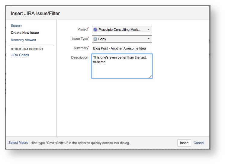 Insert Jira Issue / Filter